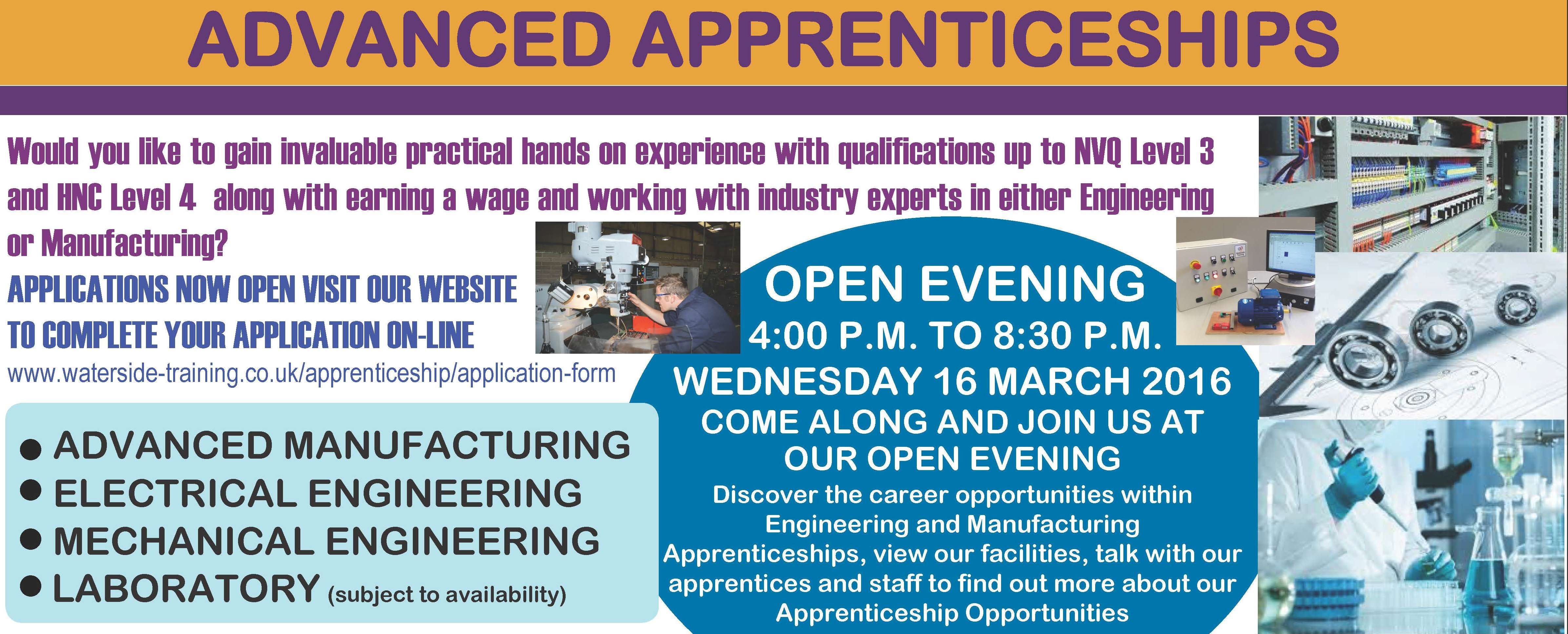 Waterside engineering apprenticeships open evening 16th March